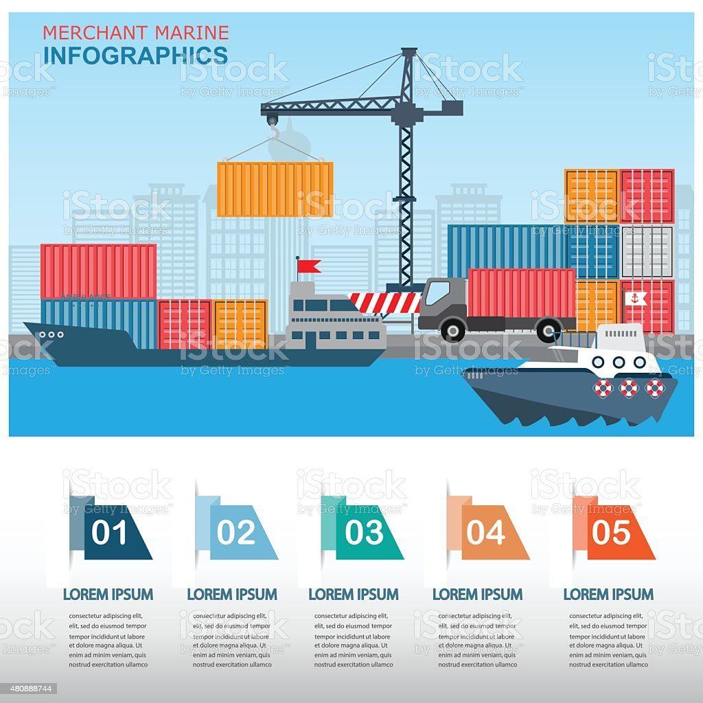 harbour infographics vector art illustration