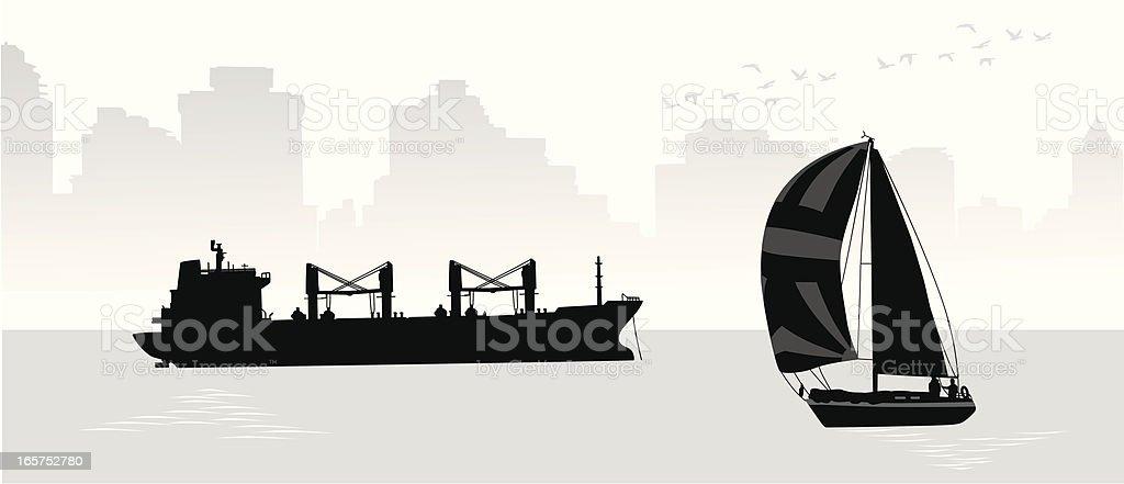Harbour Skyline Vector Silhouette royalty-free stock vector art
