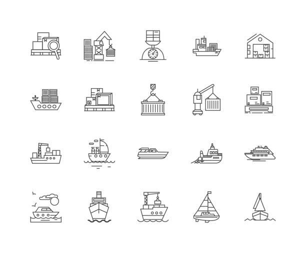 ilustrações de stock, clip art, desenhos animados e ícones de harbours line icons, signs, vector set, outline illustration concept - porto