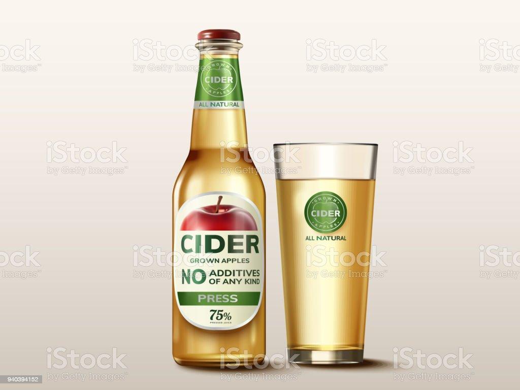 Harten Apfel Cidre mockup – Vektorgrafik