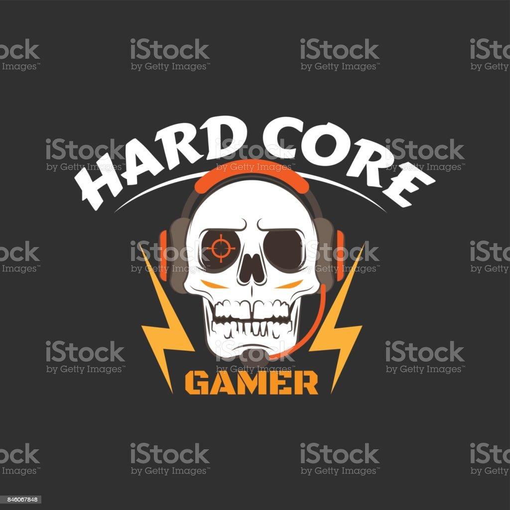 Hard core gamer logo vector art illustration