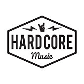 Hard Core music badge. For heavy metal signage. Hard core festival