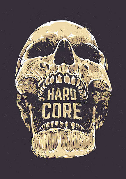 hard core skull - totenkopf tattoos stock-grafiken, -clipart, -cartoons und -symbole