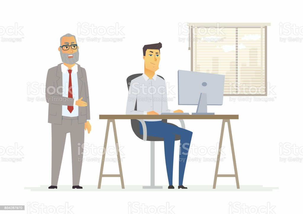 Hard day in the office - modern cartoon people characters illustration vector art illustration