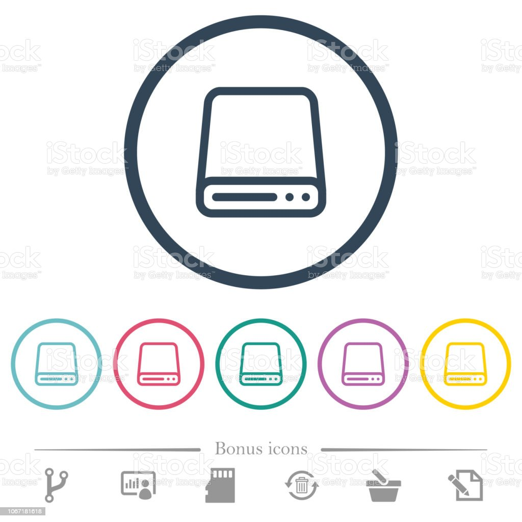 Hard disk drive flat color icons in round outlines