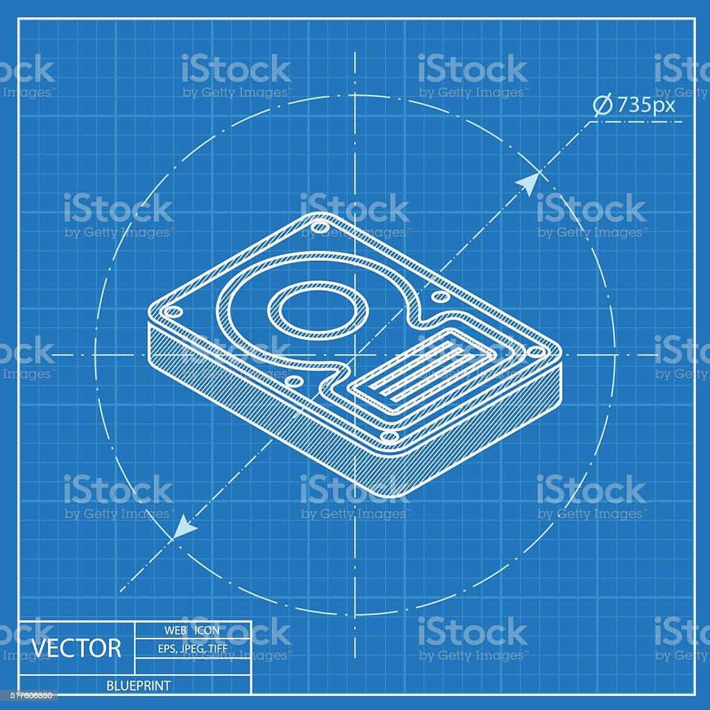 Hard disk drive storage isometric 3d blueprint icon stock vector hard disk drive storage isometric 3d blueprint icon royalty free hard disk drive storage isometric malvernweather Image collections