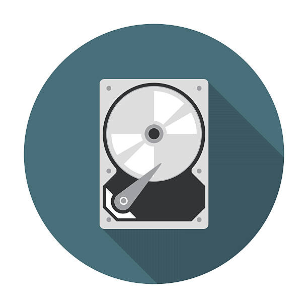 Hard drive icon flat向量藝術插圖