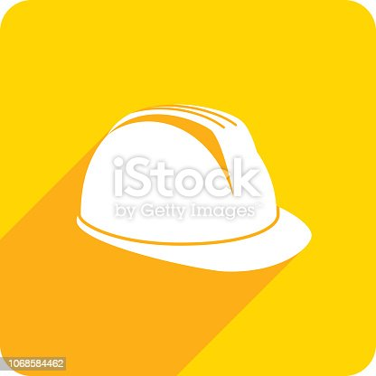 Vector illustration of a yellow hard hat icon in flat style.