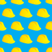 Vector illustration of yellow hard hats in a repeating pattern against a blue background.