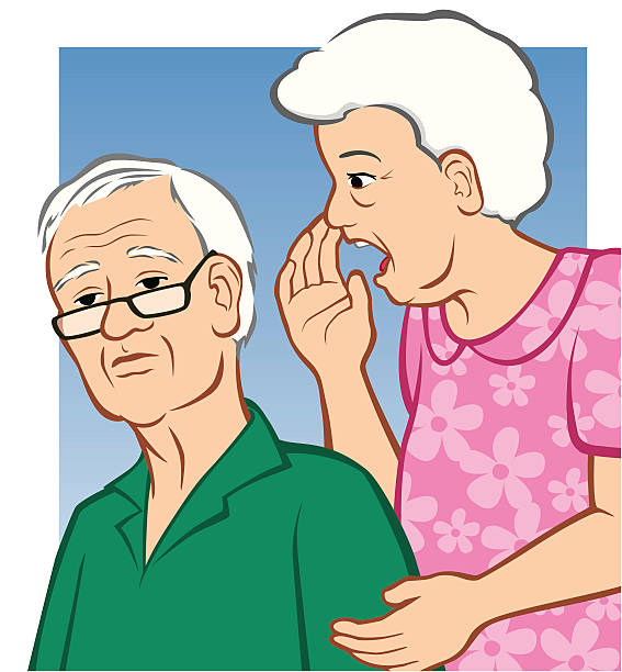 hard of hearing - old man crying stock illustrations, clip art, cartoons, & icons