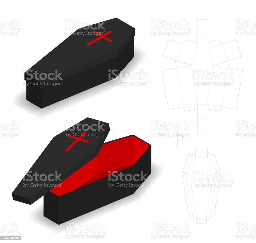 Hartpapier Sarg Box Modell Mit Dieline Stock Vektor Art und mehr ...