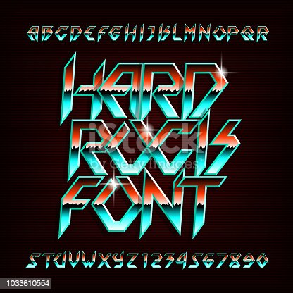 Hard Rock alphabet font. Metal effect shiny letters and numbers in retro colors. Stock vector typeface for your design.