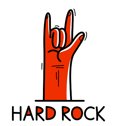 Hard rock and heavy metal devil horns gesture hand vector flat style illustration isolated on white.