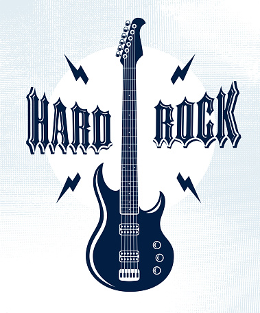 Hard Rock emblem with electric guitar vector sign, concert festival or night club label, music theme illustration, guitar shop or t-shirt print, rock band sign with stylish typography.