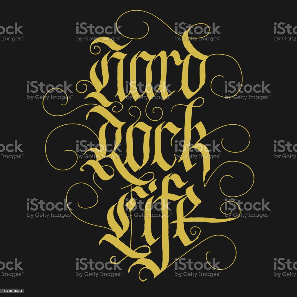 Hard Rock Music Lettering Slogan for t-shirt. vector vector art illustration