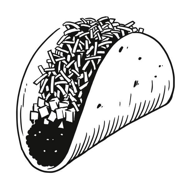 hard shell taco - taco stock illustrations, clip art, cartoons, & icons