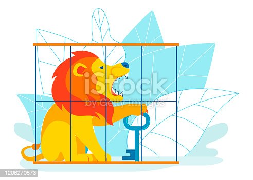 Hard Way to Success Metaphor Vector Illustration. Overcoming Obstacles to Find Solution, Decision, Answer. Cartoon Lion in Cage Holding Metal Key. Top Class Security, Total Protection Concept