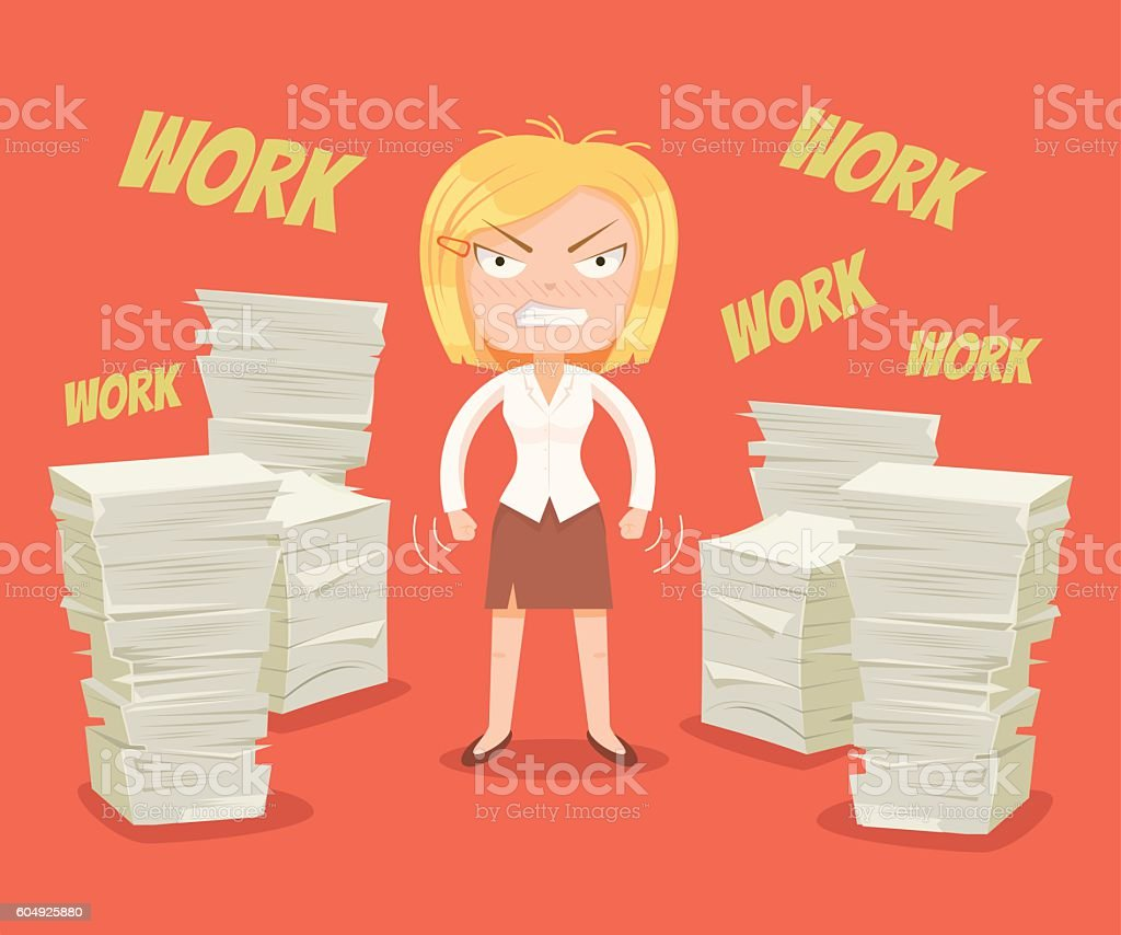 Hard work. Busy woman character. Vector flat cartoon illustration vector art illustration