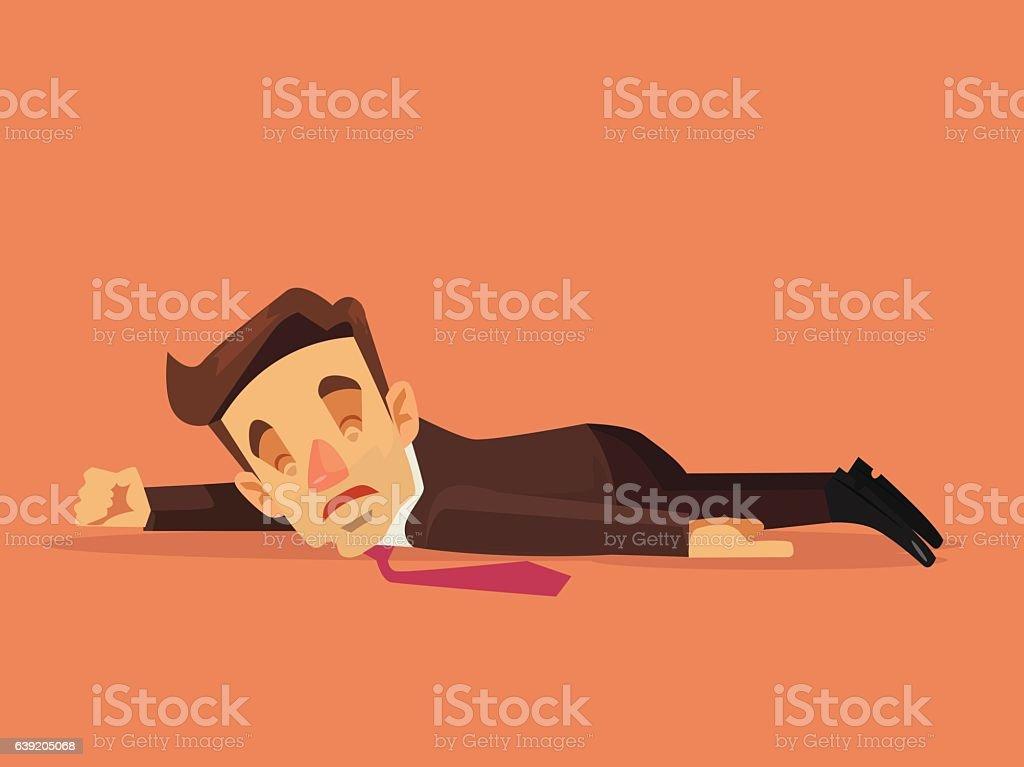 Hard work. Office worker character lying on the floor vector art illustration