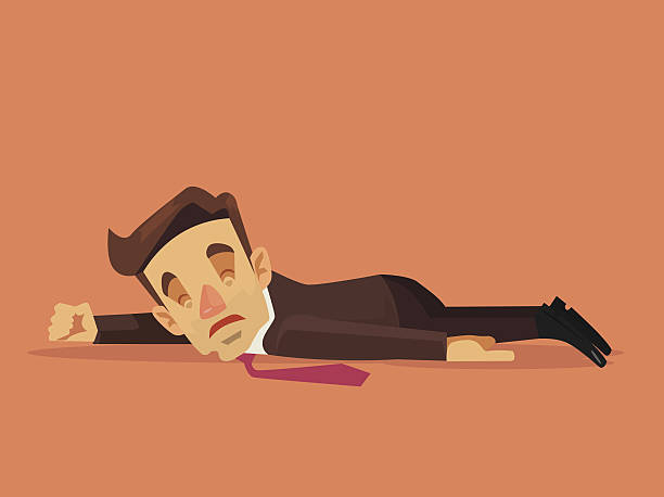 illustrazioni stock, clip art, cartoni animati e icone di tendenza di hard work. office worker character lying on the floor - uomo stanco