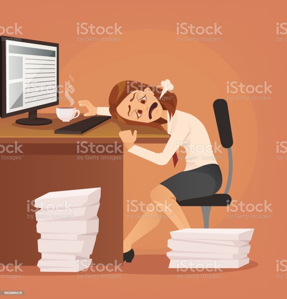 Hard work. Tired unhappy office worker woman character trying to work