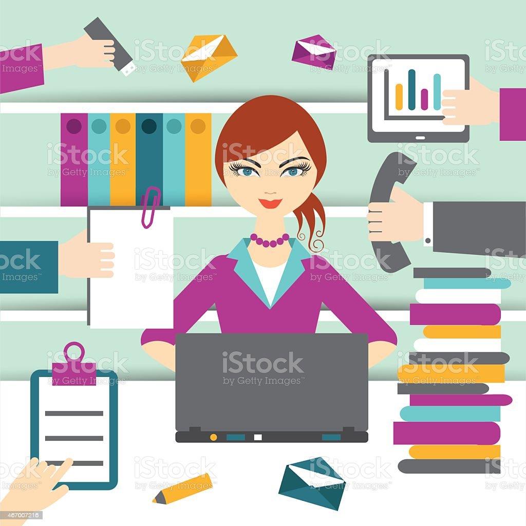 Hard working secretary. vector art illustration