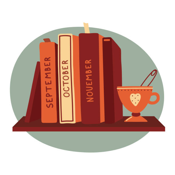 Hardcover books standing on a shelf with a cup of tea, reading club, bookstore, book blog logo template, vector illustration on white background. Fall, autumn reading club logo with books and tea cup Hardcover books standing on a shelf with a cup of tea, reading club, bookstore, book blog logo template, vector illustration on white background. Fall, autumn reading club logo with books and tea cup book club stock illustrations