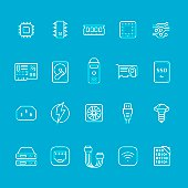 Hardware and computer part icons collection