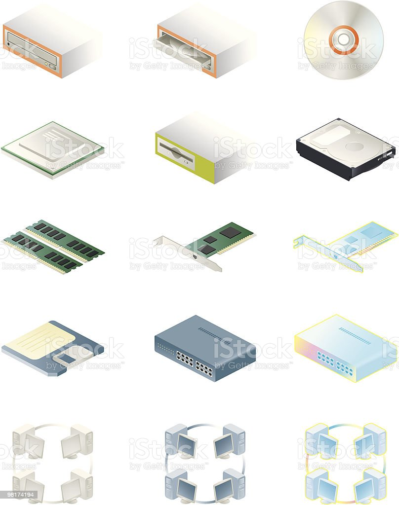 Hardware and Network iconset royalty-free hardware and network iconset stock vector art & more images of cd-rom