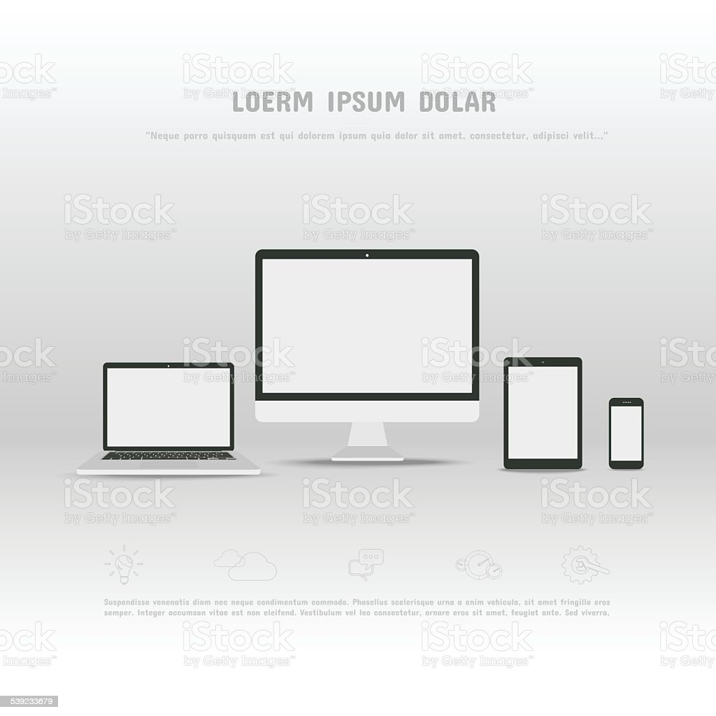 Hardware, Computer Laptop Smartphone Tablet on white background royalty-free hardware computer laptop smartphone tablet on white background stock vector art & more images of 2015