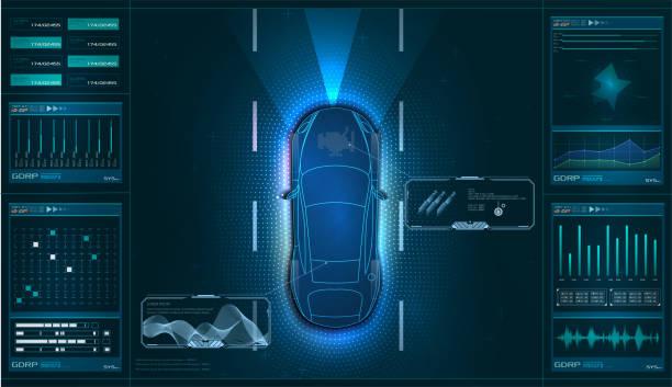 汽車硬體診斷狀況,掃描,測試,監測,分析。汽車服務在hud的風格。虛擬圖形介面gui、ui、hud自動掃描、分析和診斷。向量 - 獨立 幅插畫檔、美工圖案、卡通及圖標