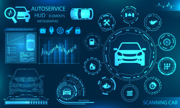 illustrazioni stock, clip art, cartoni animati e icone di tendenza di hardware diagnostics condition of car, scanning, test, monitoring, analysis, verification - automotive