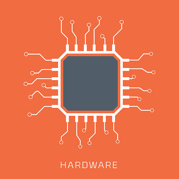 hardware, flat style, colorful, vector icon - cpu stock illustrations