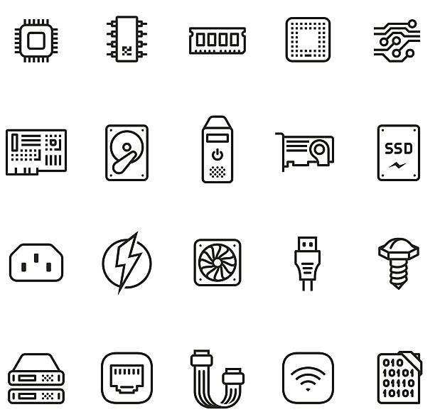 hardware icon set - unico pro 2pt stroke - cpu stock illustrations