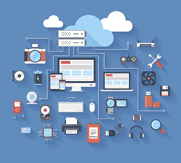 Hardware icons Vector illustration of hardware and cloud computing concept on blue background with long shadow. electrical equipment stock illustrations