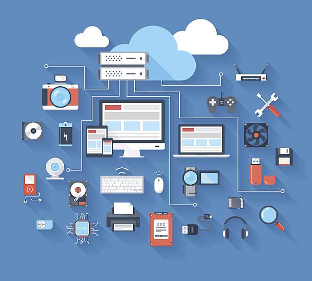 hardware icons - electronics stock illustrations, clip art, cartoons, & icons