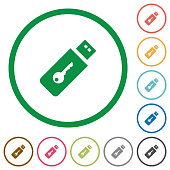 Hardware key flat color icons in round outlines on white background