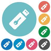 Hardware key flat white icons on round color backgrounds