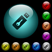 Hardware key icons in color illuminated spherical glass buttons on black background. Can be used to black or dark templates