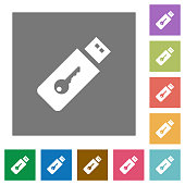 Hardware key flat icons on simple color square backgrounds