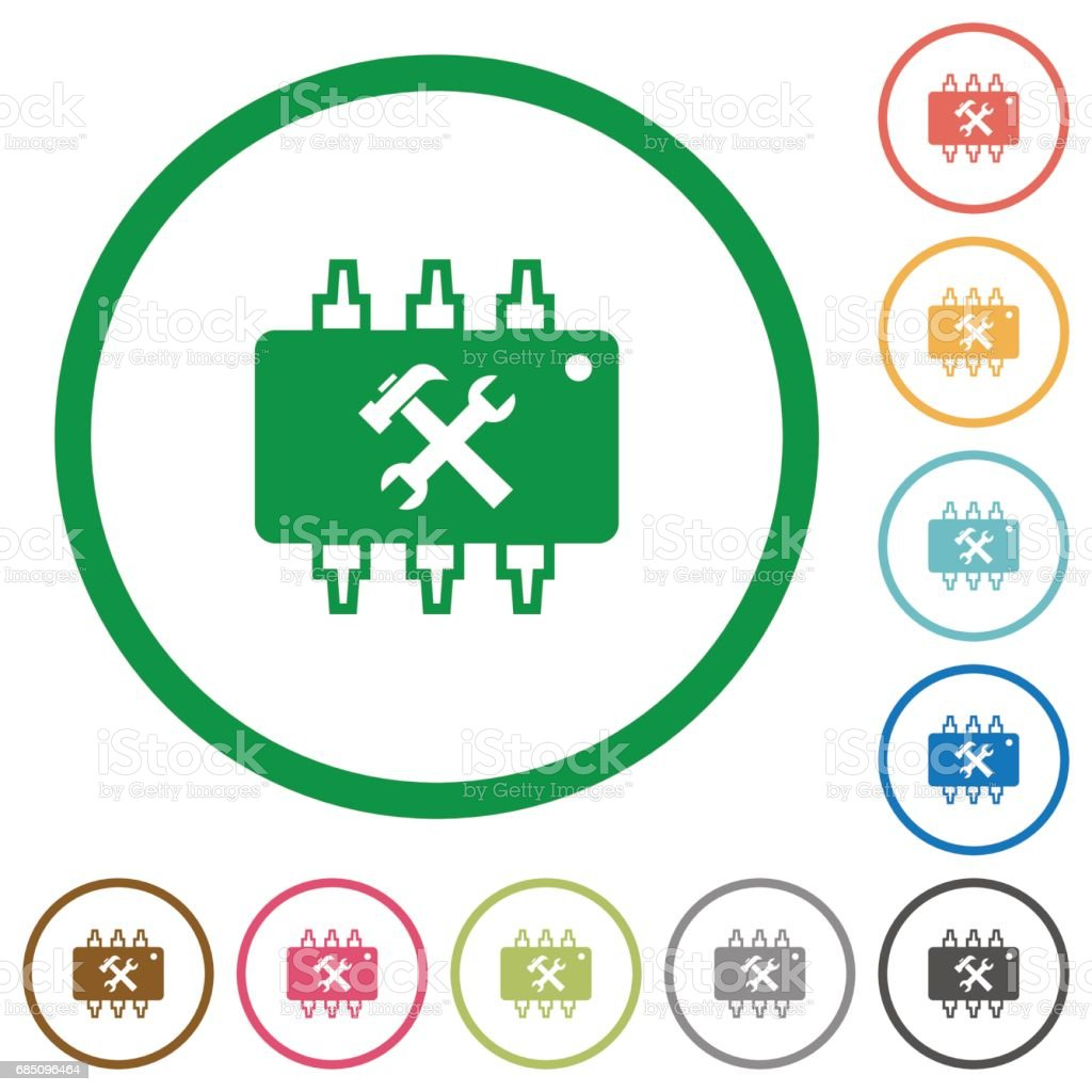 Hardware maintenance flat icons with outlines royalty-free hardware maintenance flat icons with outlines stock vector art & more images of applying