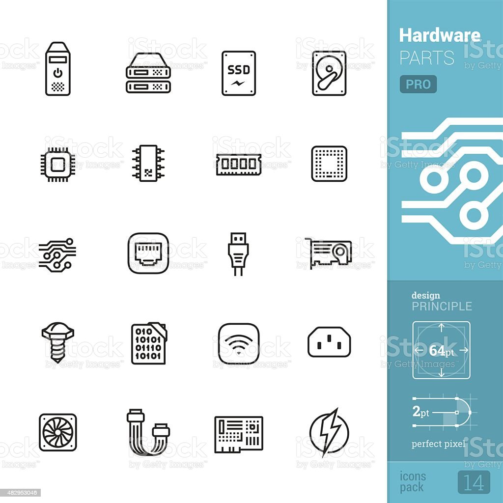 Hardware parts related vector icons - PRO pack vector art illustration