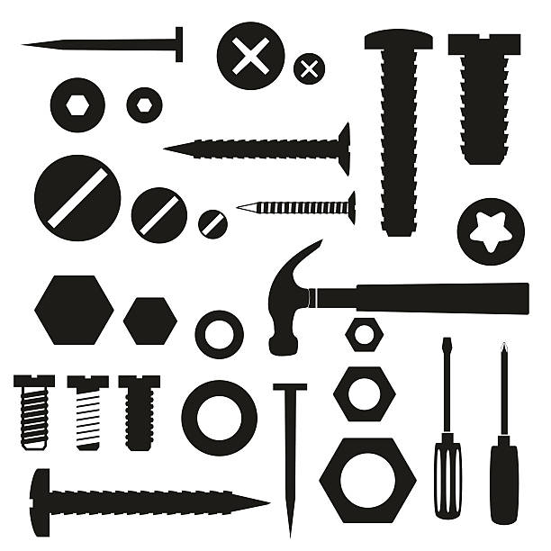hardware screws and nails with tools symbols eps10 vector art illustration