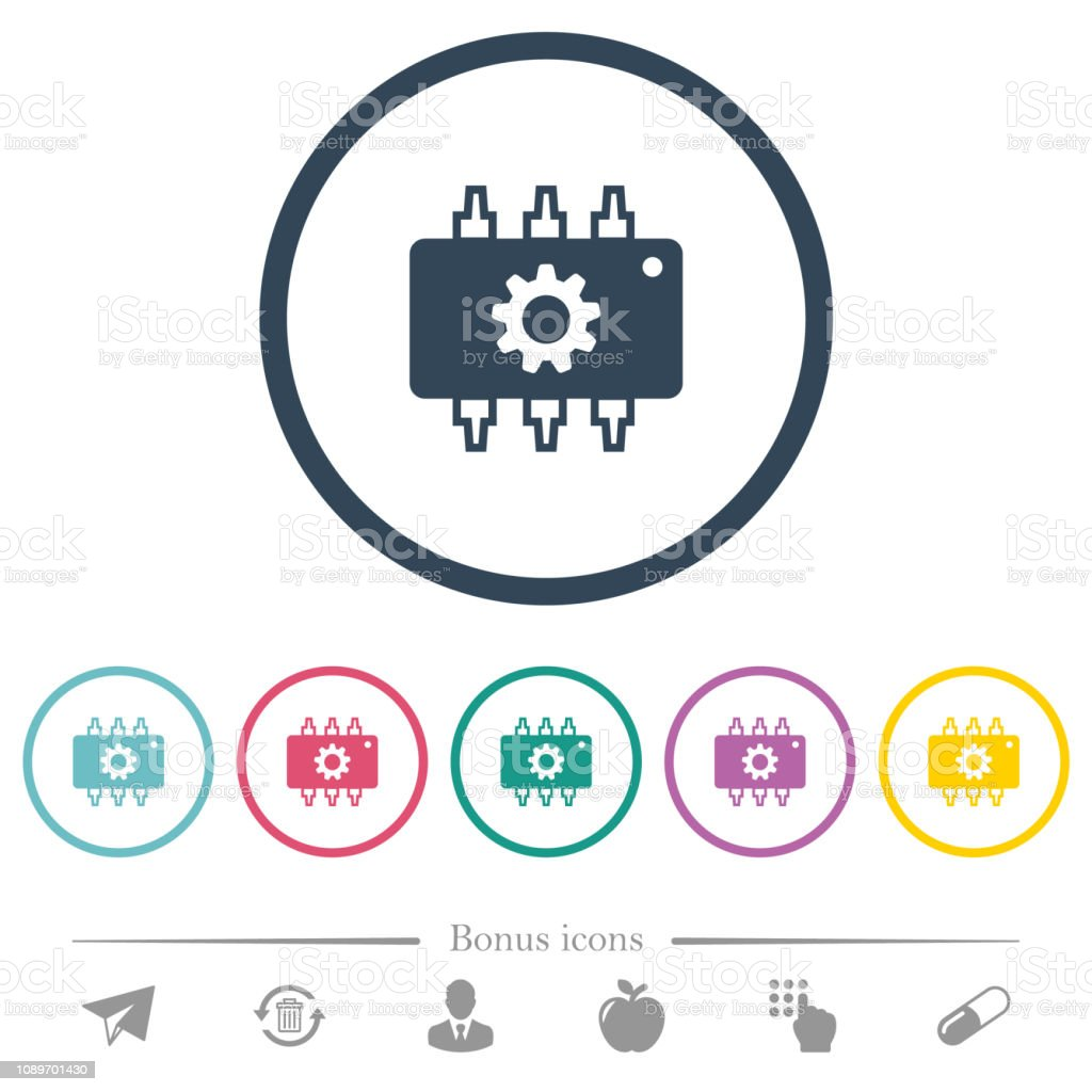 Hardware settings flat color icons in round outlines