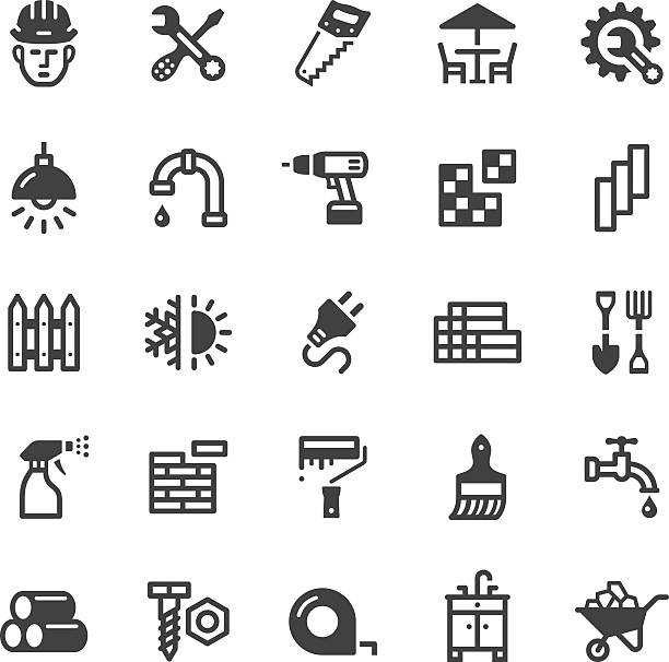 hardware store icons - Black series Vector icons. Black series. One icon consists of a single object. Files included: Vector EPS 10, JPEG 3000 x 3000 px, transparent PNG, AI 17 patio stock illustrations