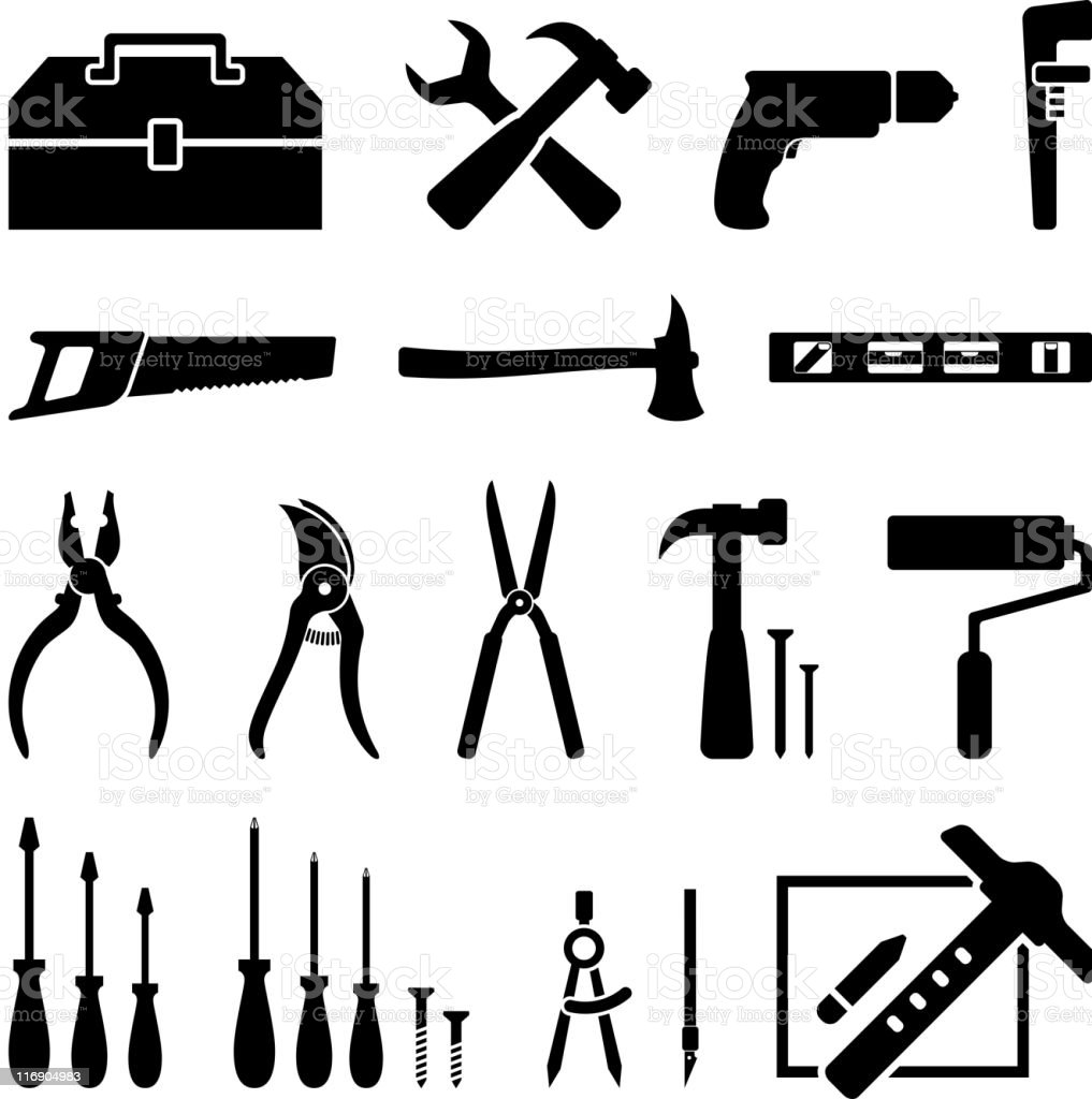 hardware tools black and white icon set royalty free vector royalty-free stock vector art
