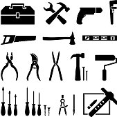 hardware tools black and white icon set royalty free vector