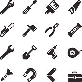 Hardware tools in black and white simple vector icon style
