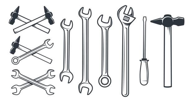 narzędzia mechaniczne pracowników sprzętowych - klucz stock illustrations