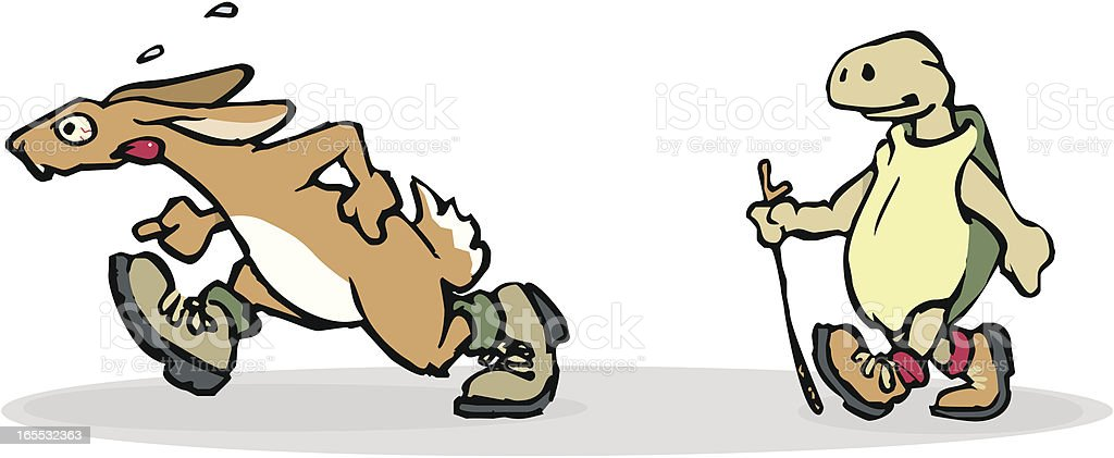 Hare and Tortoise racing, Aesop's Fable royalty-free stock vector art